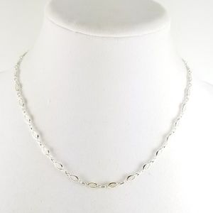 """Sterling 18"""" Filigree Marquise Link Necklace 6.8g"""